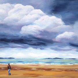 Lonely beach walk acrylic painting by Karen Kaspar