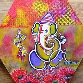 Lord Ganesha with Mantra Om Gam Ganapateye Namaha by Manjiri Kanvinde