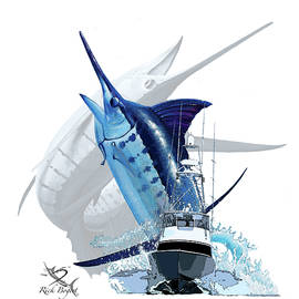Blue Marlin and Boat