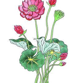 Lotus Flower Watercolor by Irina Sztukowski