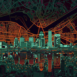 louisville kentucky skyline abstract 11 - Bekim Art