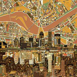 louisville kentucky skyline abstract 2 - Bekim Art