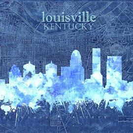 louisville kentucky skyline vintage 3 - Bekim Art