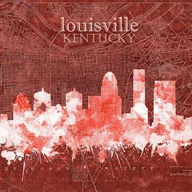 louisville kentucky skyline vintage 5 - Bekim Art