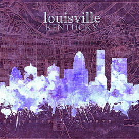 louisville kentucky skyline vintage 7 - Bekim Art