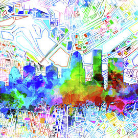 louisville kentucky skyline watercolor 8 - Bekim Art