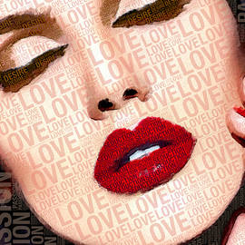 Love And Passion Portrait Of A Woman With Words by Tony Rubino