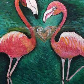 Love For Flamingos by Laurie Maves ART