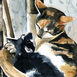 Love Me Tender - Cat Painting by Dora Hathazi Mendes