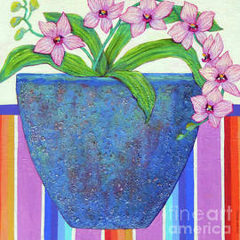 Sharon Nelson-Bianco - Lovely Orchid in Blue Pot