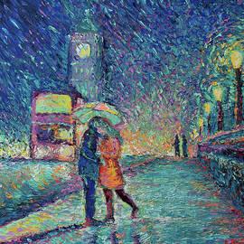 Lovers in Rainy London by Adriana Dziuba