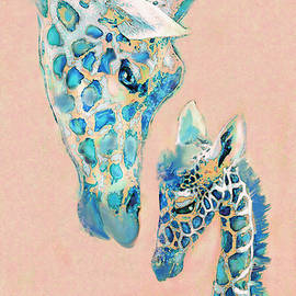 Loving Giraffes Family- Coral by Jane Schnetlage