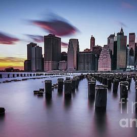 Lower Manhattan Purple Sunset by Alissa Beth Photography