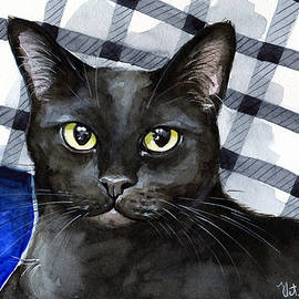 Lucky - Black Cat Portrait by Dora Hathazi Mendes