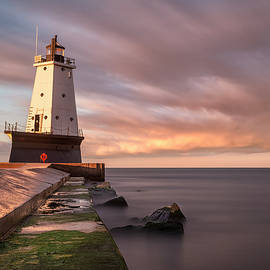 Ludington Light Sunrise Long Exposure by Adam Romanowicz