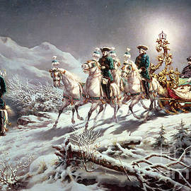 Ludwig II of Bavaria Sleighing at Night from Neuschwanstein to Linderhof - Karl Gottlieb Wenig