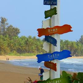 Luquillo Beach from Tiki hut by Charlene Cox