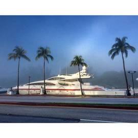 Luxury Yacht At Foggy Miami Beach
