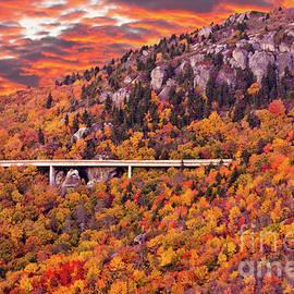 Dan Carmichael - Lynn Cove Viaduct Blue Ridge Autumn Fire Sky