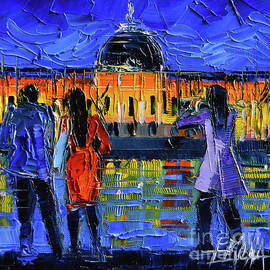 Mona Edulesco - LYON SIGHTSEEING BY NIGHT impressionist modern palette knife oil painting