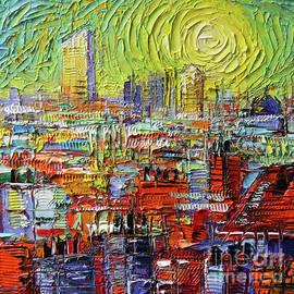 Mona Edulesco - LYON SUNRISE GLOW - Modern Impressionist Stylized Cityscape