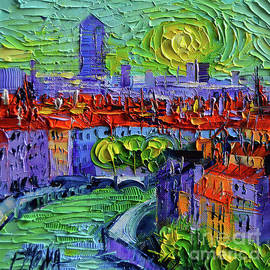 Mona Edulesco - LYON VIEW AT SUNRISE - palette knife oil painting by Mona Edulesco