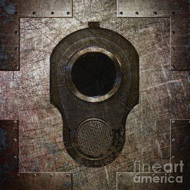 M1911 Muzzle On Rusted Riveted Metal Dark by Fred Ber