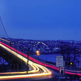 Macdonald bridge at twilight in Halifax Nova Scotia