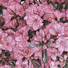 Macro of Pink Azaleas Rhododendron Flowers Abstract Sketch Effect by Rose Santuci-Sofranko
