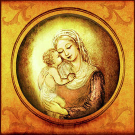 Ananda Vdovic - Madonna with the Kissing Child - in golden frame