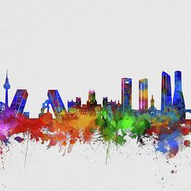 madrid city skyline watercolor 2 - Bekim Art