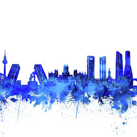 madrid city skyline watercolor blue - Bekim Art