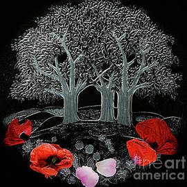 MAGICAL GARDEN with POPPIES.
