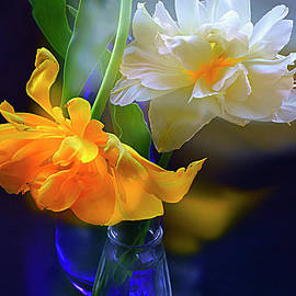 MAGNIFICENT TULIPS in GLASS VASE. by Alexander Vinogradov