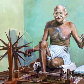Mahatma Gandhi Spinning by Dominique Amendola