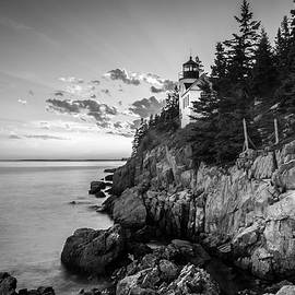 Maine Acadia Bass Harbor Lighthouse In Black And White by Ranjay Mitra