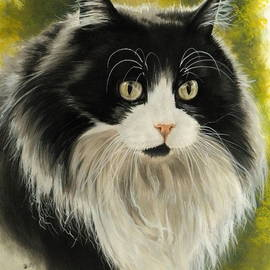 Maine Coon in Watercolor by Barbara Keith