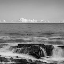 Maine Rocky Atlantic Coast Crashing Waves and Clouds in Black and White by Ranjay Mitra