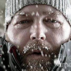 Simon Bratt Photography LRPS - Man in snow storm close up