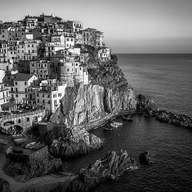 Manarola Dusk Cinque Terre Italy BW by Joan Carroll