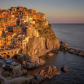 Manarola Dusk Cinque Terre Italy by Joan Carroll