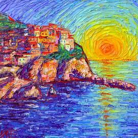 Ana Maria Edulescu - MANAROLA MAGICAL SUNSET CINQUE TERRE ITALY modern impressionism impasto knife oil Ana Maria Edulescu