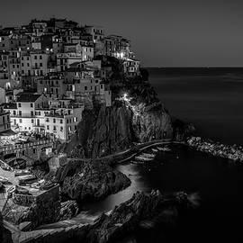 Joan Carroll - Manarola Night Cinque Terre Italy BW