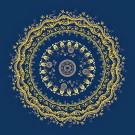 Elena Ivanova IvEA - Mandala. Gold on blue.