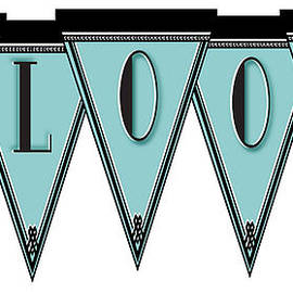Pennant Deco Blues Message Bloom by Cecely Bloom