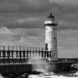 Manistee North Pierhead Lighthouse #10 BW by Michael Palko