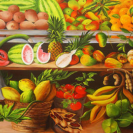 Manuel Working In His Fruit Stand by Dominica Alcantara