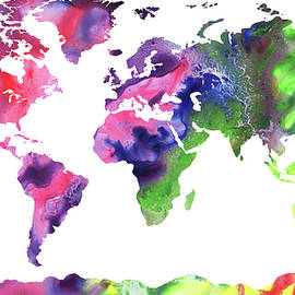Map Of The World Bright Watercolour - Irina Sztukowski