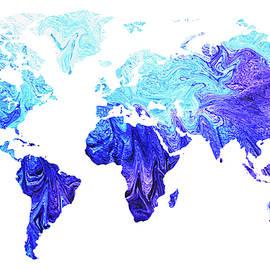 Map Of The World In Cool Blue Watercolor  - Irina Sztukowski