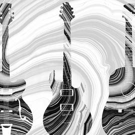 Marbled Music Art - Three Guitars - Sharon Cummings by Sharon Cummings